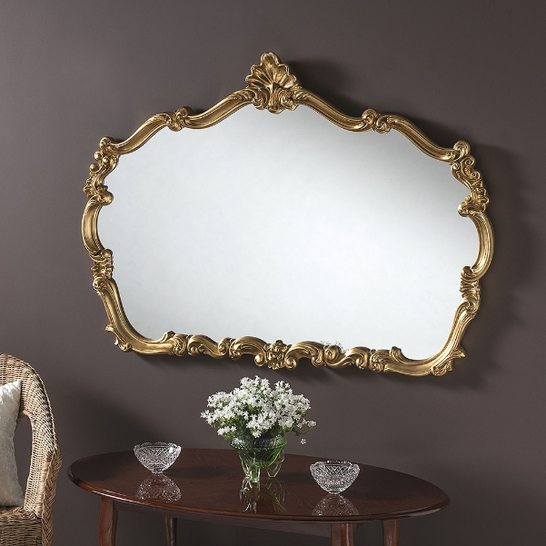 Crested Shaped Large Ornate Framed Wall Mirror Gold 235 00 Mirror Shop Uk