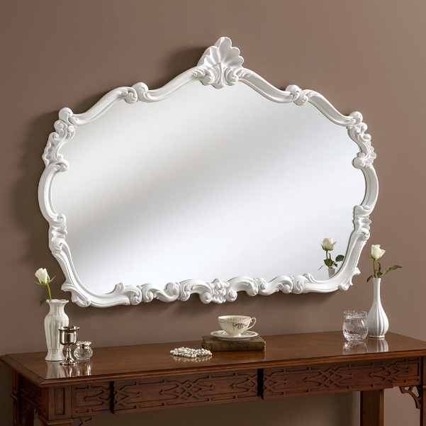 Crested Shaped Large Ornate Framed Wall Mirror White 235 00 Mirror Shop Uk