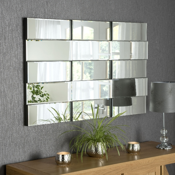Large Multi Facet Frameless Wall Mirror, Large Wall Mirror Uk