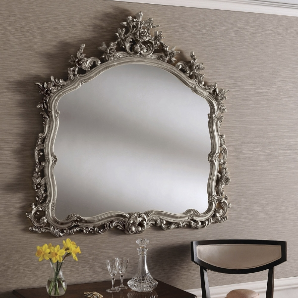 Large Ornate Guilt Framed Feature Wall Mirror Silver 340 00 Mirror Shop Uk