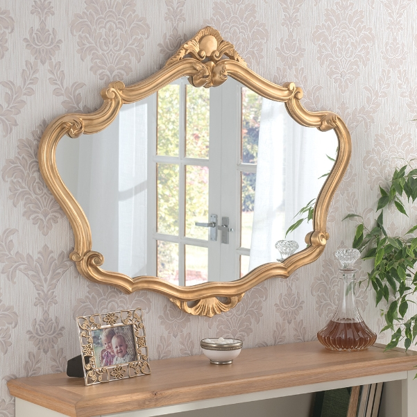 Ornate Crested Framed Wall Mirror Gold, Gold Baroque Mirrors Uk