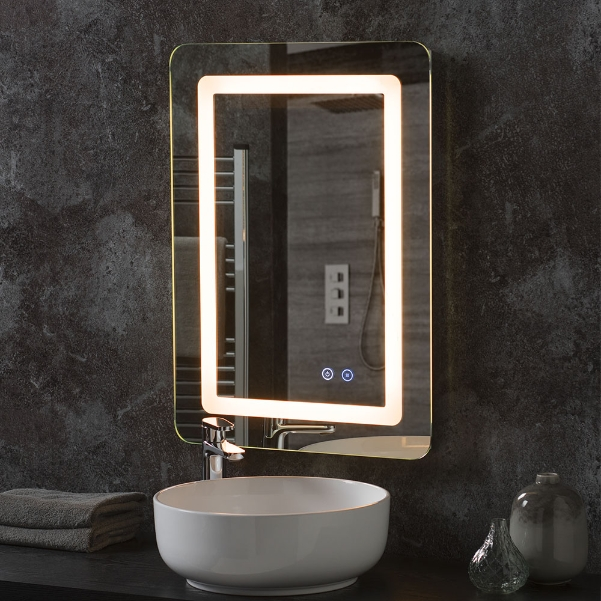 Rounded Corner Rectangle Led Bathroom Mirror Portrait 156 00 Mirror Shop Uk