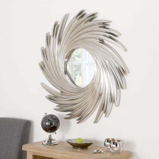 Swirl Twister Round Framed Wall Mirror, Ornate Round Silver Wall Mirror
