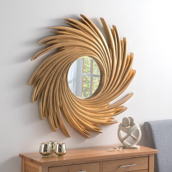 Swirl Twister Round Framed Wall Mirror Gold 195 00 Mirror Shop Uk