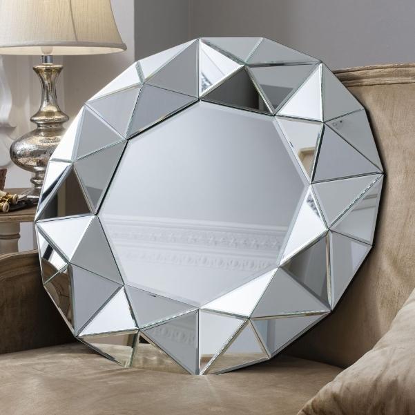 Zaragoza Multi Faceted Art Deco Mirror Framed Round Wall Mirror 144 00 Mirror Shop Uk